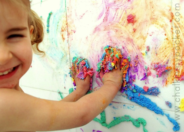 bathtub puffy paint, diy bath paint, tactile art experiences for baby, hands on art