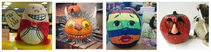 pumpkins decorated as book chracters